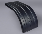 Heavy truck fender in heavy molecular weight polyethylene.